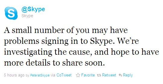 сервис Skype упал второй раз