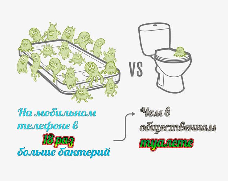 Так как очистить свой телефон от микробов?