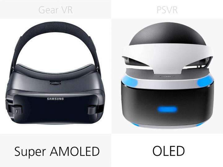 Тип дисплея Samsung Gear VR (2017) и Sony PlayStation VR