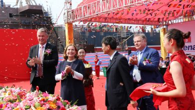 В Китае спустили на воду электрический сухогруз!