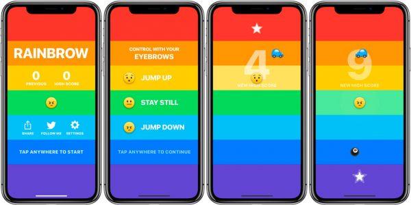 Новая игра Rainbow для iPhone X управляется бровями